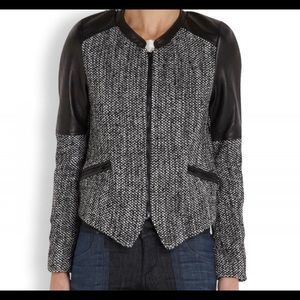 Parker Women's Gray Holly Tweed and Leather Jacket